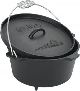 Bayou Classic 7360 Cast Iron Dutch Oven with Feet
