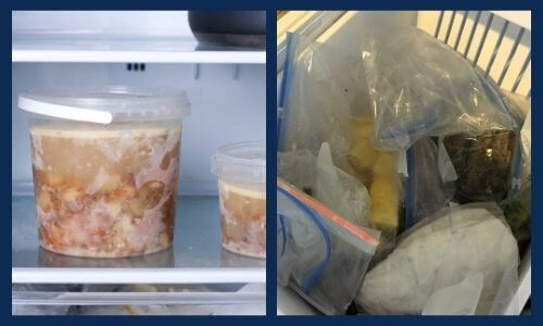 plastic containers or bags