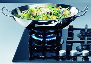 wok on a glass top stove